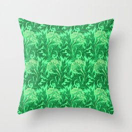 Jacobean Flower Damask, Emerald and Lime Green Throw Pillow