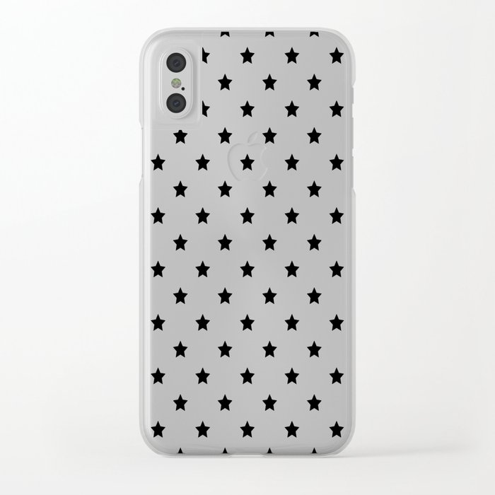 Black and white Star Pattern Clear iPhone Case