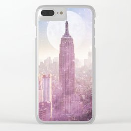 I LOVE PINK NEW YORK CITY SKYLINE - Full Moon Universe Clear iPhone Case