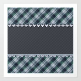 Blue plaid, plaid blanket, gray pattern, patchwork, folklore,  rustic style, elegant pattern, plaid Art Print