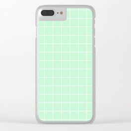 Mint Green with White Grid Clear iPhone Case