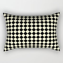 Black and Cream Yellow Diamonds Rectangular Pillow