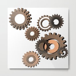 Gears, clock parts, steampunk Metal Print