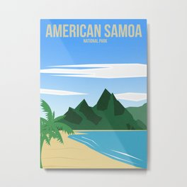 American Samoa National Park - Travel Poster -  Minimalist Art Print Metal Print