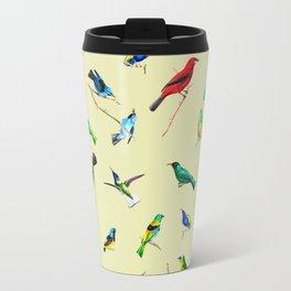 Yellow Birds Motif Seamless Pattern Travel Mug