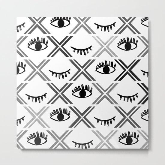 Original Black and White Eyes Design Metal Print