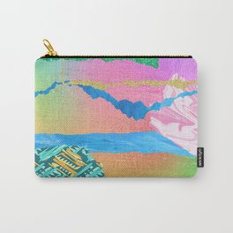 Mixed Media Abstract: Pink, Green Glitter & Blue Carry-All Pouch
