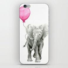 Elephant Watercolor Pink Balloon Whimsical Baby Animal Nursery Girl Art iPhone & iPod Skin