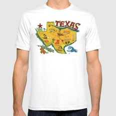 Postcard from Texas print MEDIUM White Mens Fitted Tee