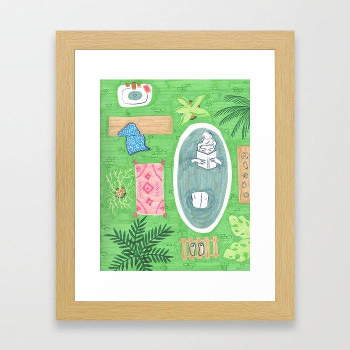 Green Tiled Bath drawing by Amanda Laurel Atkins Framed Art Print