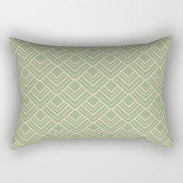 Paris - Classic Green Beige Geometric Minimalism Rectangular Pillow
