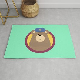 Police Officer Brown Bear in cirlce Rug
