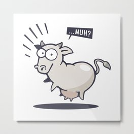 Scared Cow! Metal Print