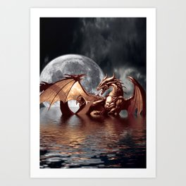 Mystical Dragon and Moon Fantasy Design Art Print