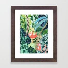 Jungle Sloth Family Framed Art Print