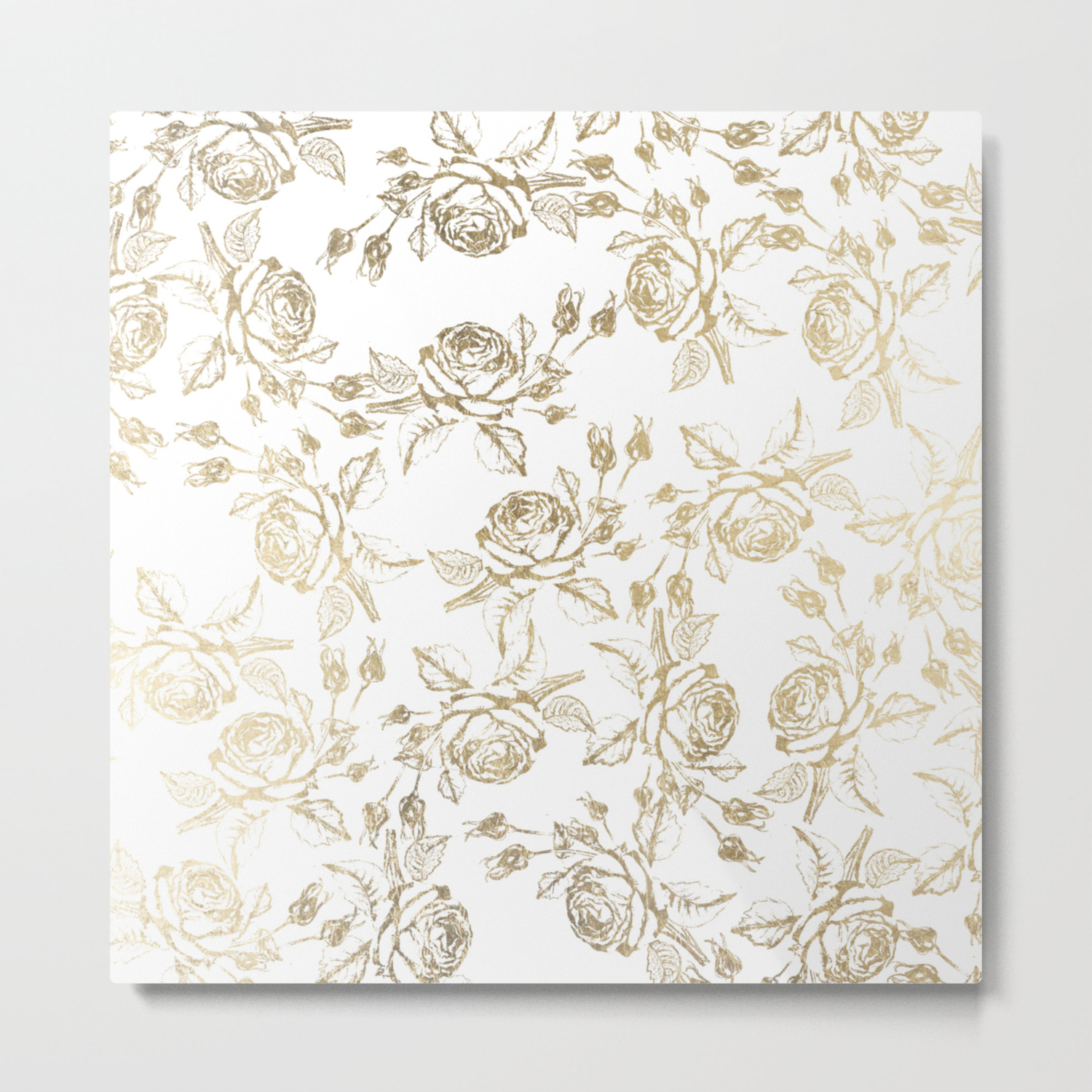 Vintage White Faux Gold Roses Floral Metal Print By Pink Water