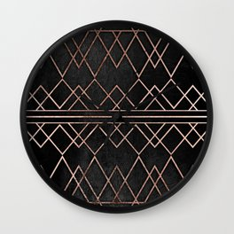 Chic & Elegant Faux Rose Gold Geometric Triangles Wall Clock