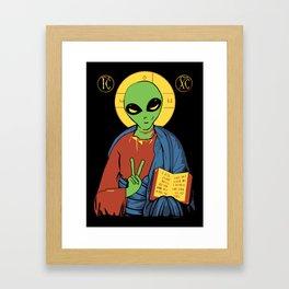 Alien Jesus - Funny Political Print Framed Art Print