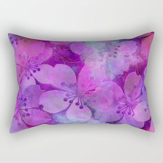 Fancy Floral watercolor pattern pink Rectangular Pillow