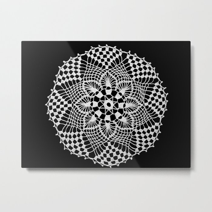 lace round ornament 3 Metal Print
