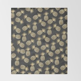 Modern chalk black elegant faux gold pineapple pattern Throw Blanket