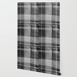 Stitched Plaid in Black and White Wallpaper