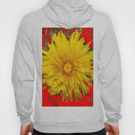 DECORATIVE  YELLOW DANDELION BLOSSOM ON ORGANIC RED ART Hoody