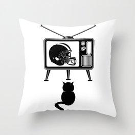 Cat Watching American Football Throw Pillow