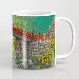 Vintage Japanese Woodblock Print Garden Red Bridge River Rapids Beautiful Green Forest Landscape Coffee Mug