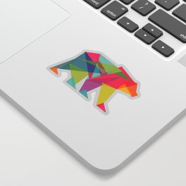 Fractal Bear - neon colorways Sticker