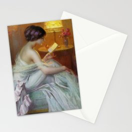 The Letter (Fool in Love) romantic portrait painting by Delphin Enjolras - Bedroom Wall Decor Stationery Cards