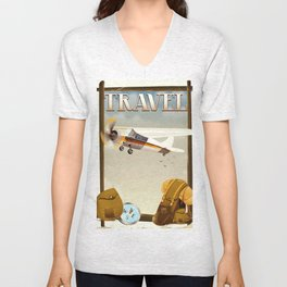Vintage Travel poster Unisex V-Neck