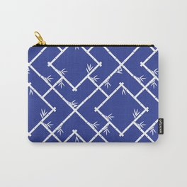 Bamboo Chinoiserie Lattice in Blue + White Carry-All Pouch