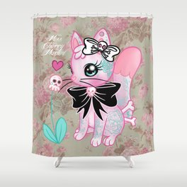 Tattooed Kitty Shower Curtain
