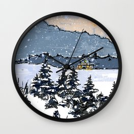 Winter Montains Wall Clock