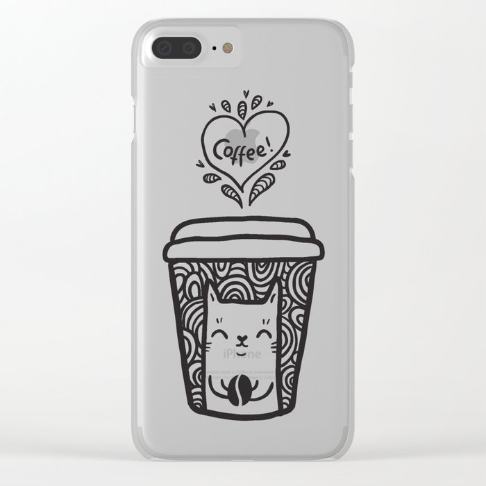 Doodle coffee cat Clear iPhone Case