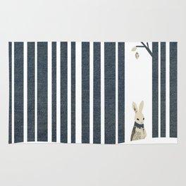 Winter Scene with Rabbit (Chasing the White Rabbit) Rug