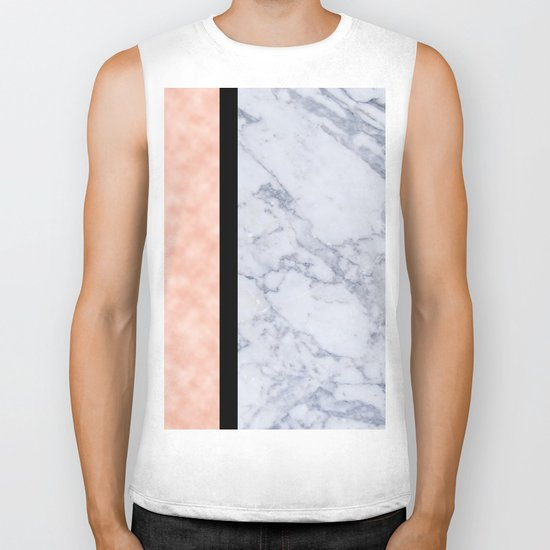 Modern candy pink and marble Biker Tank