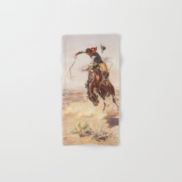 A Bad Hoss by Charles Marion Russell (c 1904) Hand & Bath Towel