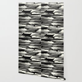 Modern Tribal Stripe Ivory and Black Wallpaper