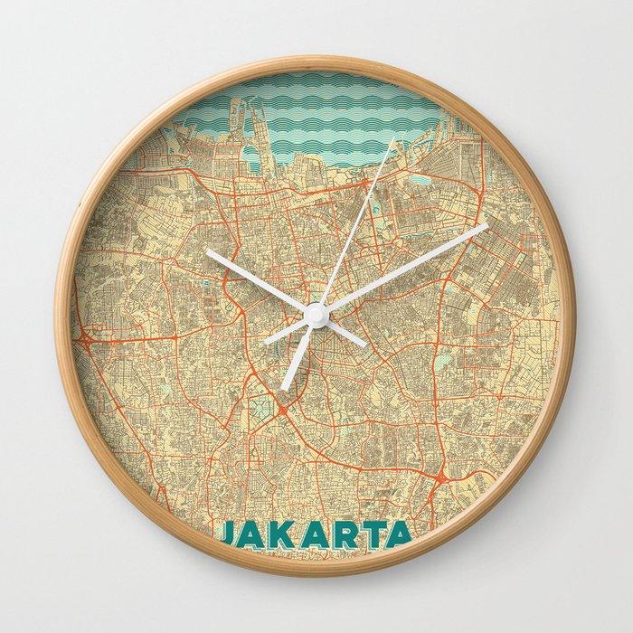 Jakarta Map Retro Wall Clock