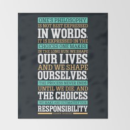 Lab No. 4 One's Philosophy Is Not Best Expressed Eleanor Roosevelt Life Inspirational Quote Throw Blanket