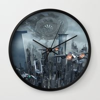 sci fi Wall Clocks featuring Sci-Fi City by Michael Lenehan