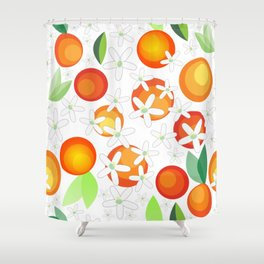 Orange Blossom Pattern Shower Curtain