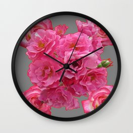 PINK ROSES CLUSTER GREY ART Wall Clock