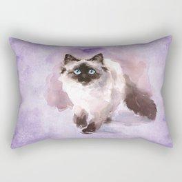 Watercolor Siamese Cat Rectangular Pillow