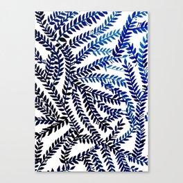 Meandering Leaves: blue Canvas Print