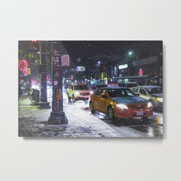 First Snowfall in Chinatown Toronto Metal Print