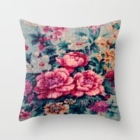 vintage floral Throw Pillows featuring Vintage Floral  by CLE.ArT.