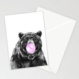 Bubble Gum Big Bear Black and White Stationery Cards